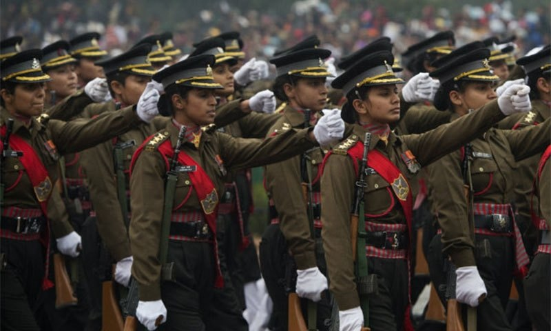 An Indian all-female military contingent marches during the nation's Republic Day Parade in New Delhi. -AFP Photo