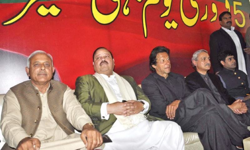 PTI chairman Imran Khan, former AJK prime minister Barrister Sultan Mehmood and Ijaz Chaudhry sit on stage alongside other PTI leaders on Thursday. —INP