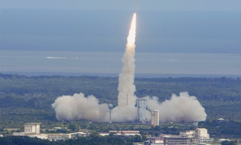 A Vega rocket lifts off from Kourou, French Guiana, bearing the Intermediate eXperimental Vehicle (IXV) on a 100-minute test mission.—AFP