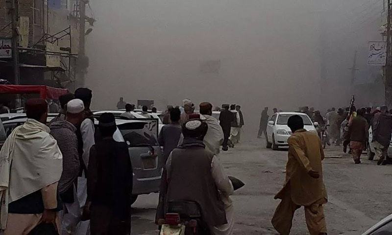 The blast occurred in a car laden with explosives. — Photo by Syed Ali Shah