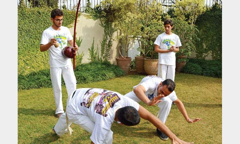 Pakistani Capoeira athletes at Brazilian Embassy in Islamabad.