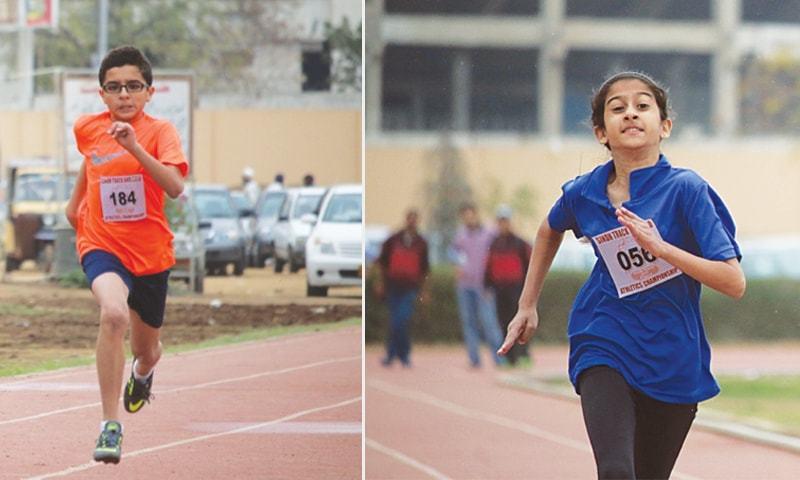 KARACHI: Shahmir Danish (L) and Alina Humayun in action on their way to winning the 100m races at the Karachi Junior Athletics Championship.