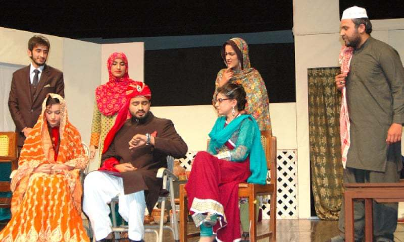 A scene from the play Meri Kahani staged at PNCA on Thursday. — Photo by Ishaque Chaudhry