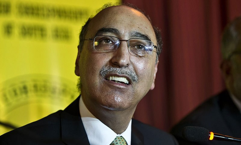 Pakistan High Commisioner to India Abdul Basit addressing a press conference. -AFP/File