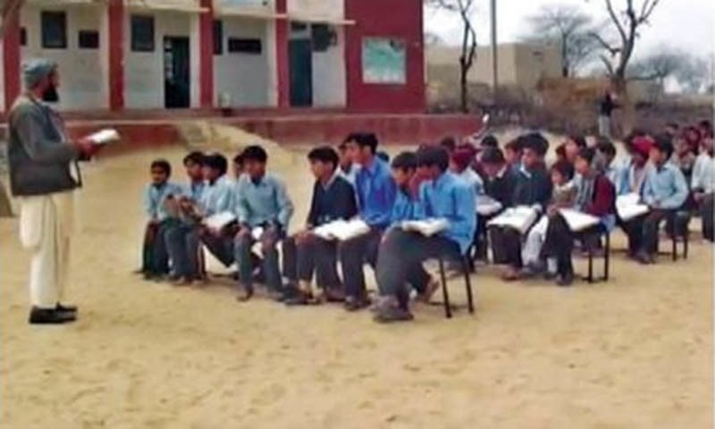 The school presents a picture of neglect and sad reflection of Pakistan's education system. — Dawn