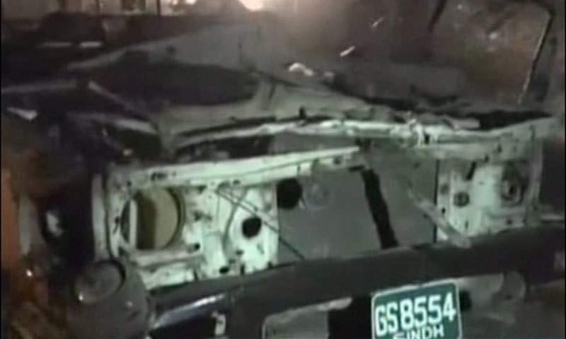 DawnNews screengrab shows the Rangers' mobile destroyed in the blast.