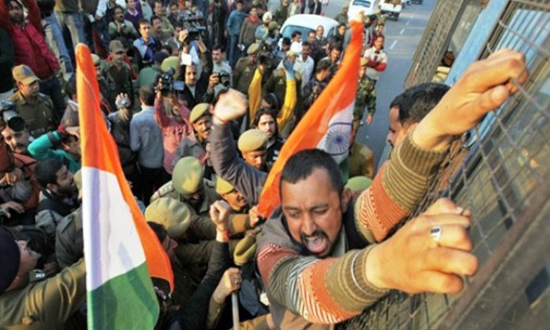 A BJP supporter shouts as he is being detained by police during a protest in Jammu, January 24, 2011. Photo — Rueters