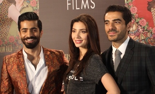 Shehryar Munawar, Mahira Khan and Adeel Hussain on the red carpet.