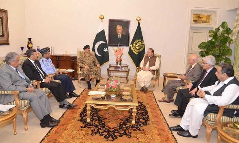 The meeting was attended by Defence Minister Khawaja Asif, Adviser to Prime Minister on National Security and Foreign Affairs Sartaj Aziz, Army Chief General Raheel Sharif and Air Chief Marshal Sohail Aman. -PM House