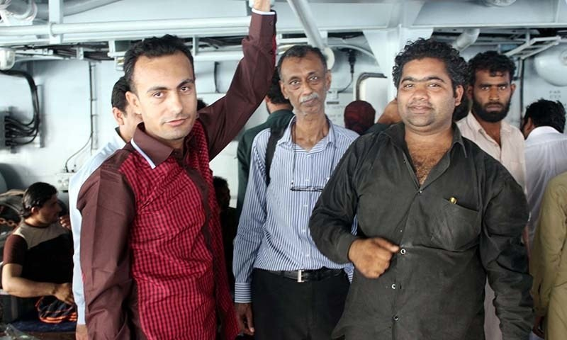 Foreign nationals onboard Pakistan Navy Ship ASLAT  after evacuation operation in Al-Mukalla on Saturday, April 04, 2015.— PPI