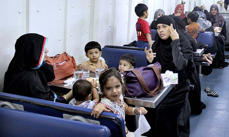Stranded families safely taken onboard Pakistan Navy Ship upon completion of immigration formalities. Pakistan Navy Ship has sailed back for Pakistan after successful evacuation of 147 Pakistani Nationals including men, women and children and 36 foreign Nationals stranded in Al Mukalla, Yemen. — APP