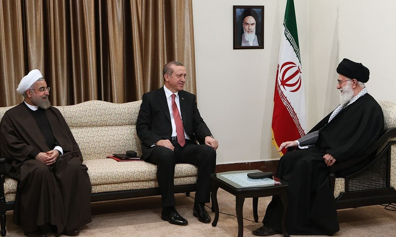 Ayatollah Ali Khamenei met with Turkish President Recep Tayyip Erdogan and Iranian President Hassan Rouhani in Tehran. -AFP