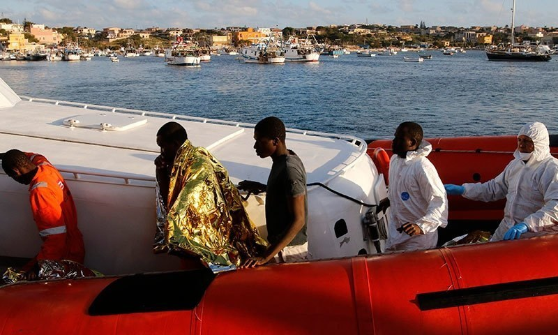 The boat, carrying about 550 migrants in total, flipped about 24 hours after leaving the Libyan coast. -Reuters/File