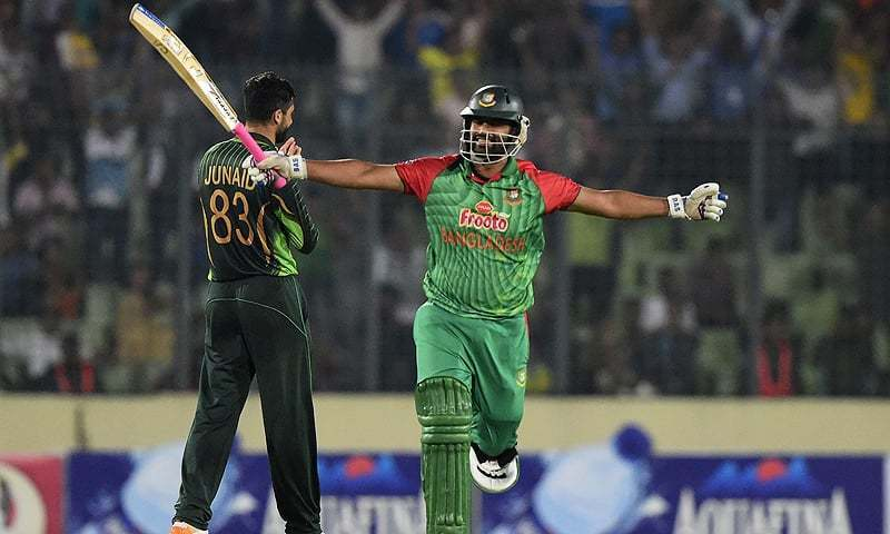 Tamim Iqbal reacts after scoring his second consecutive century against  Pakistan.