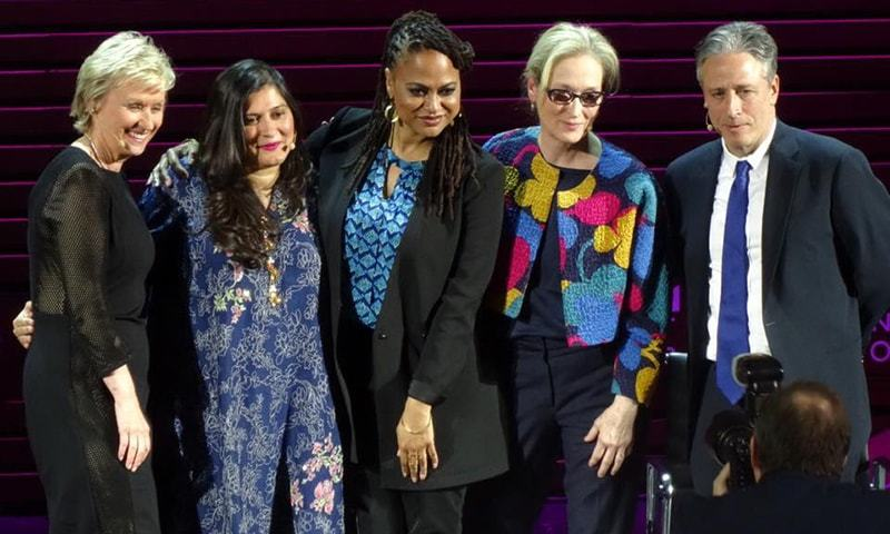 Meryl Streep, Ava DuVernay, Sharmeen Obaid-Chinoy and John Stewart. Photo by Sameer Khan
