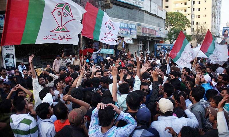 MQM leader Faisal Sabzwari pacifying party supporters in Kareemabad. — Online