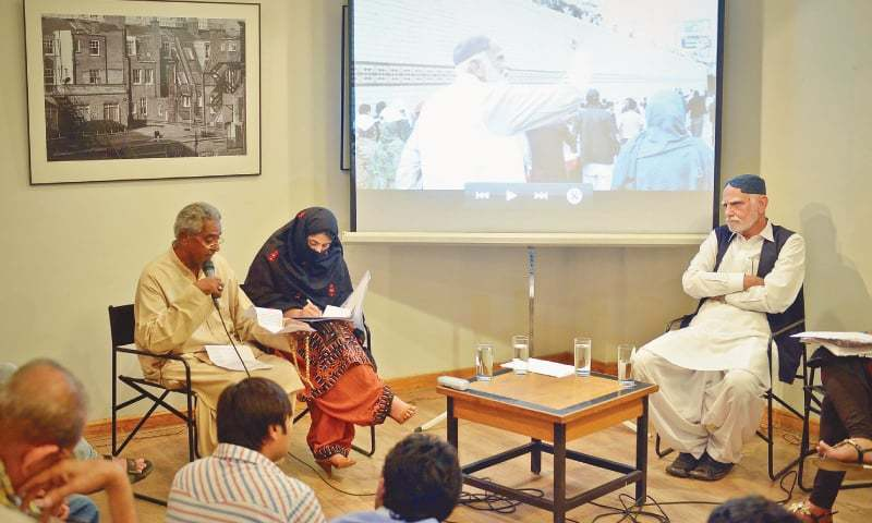 Mama Qadeer (left), Farzana Baloch and Mir Mohammad Ali Talpur discuss the issue of enforced disappearances at a programme titled Unsilencing Balochistan at T2F on Friday evening.—White Star