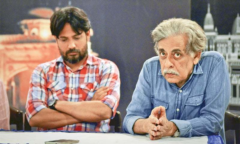Khaled Ahmed (right), who is playing the lead role in the play, at the press conference on Friday. —White Star