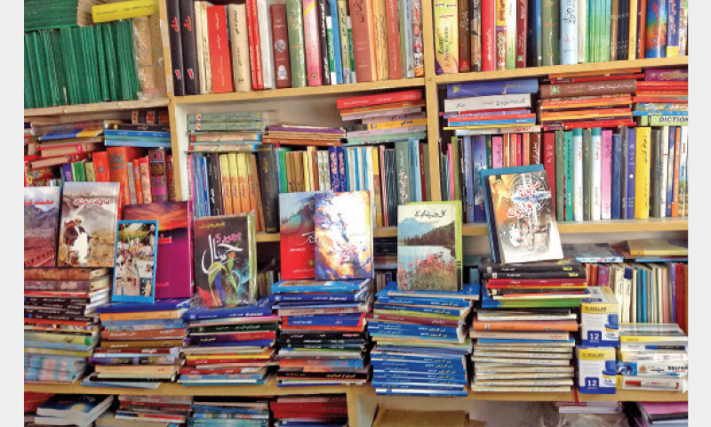 Books on sale at a store in Peshawar.—Dawn/File photo