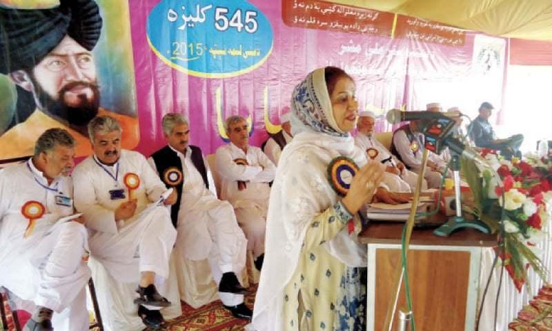 A speaker addresses a function on the birth anniversary of Yousafzais' chieftain Malik Ahmad Baba in Chakdara on Sunday. — Dawn