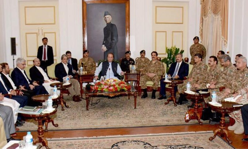 Top civil and military officials attend a meeting on law and order at Karachi Governor House.- PM Office