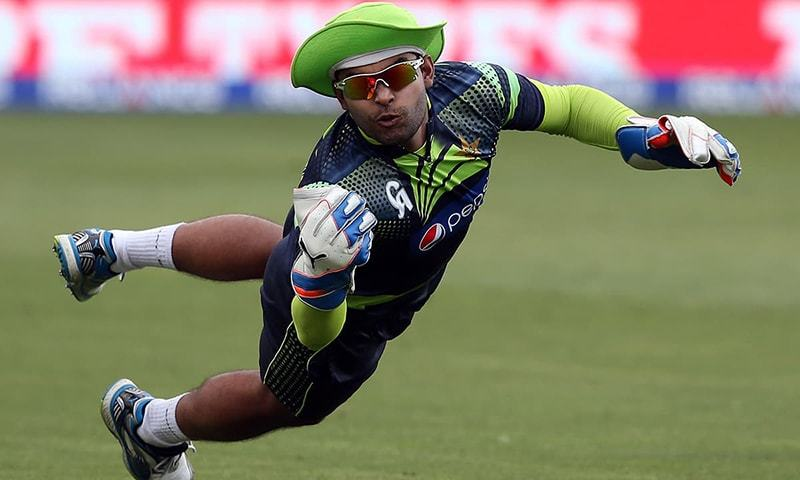 In this photo, Umar Akmal takes a catch during during a Pakistan team's training session in Napier. — AFP/File