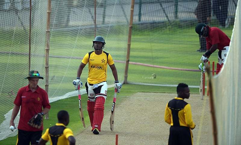 Zimbabwean cricketers take part in a net practice session at the Gaddafi Cricket Stadium in Lahore. — AFP