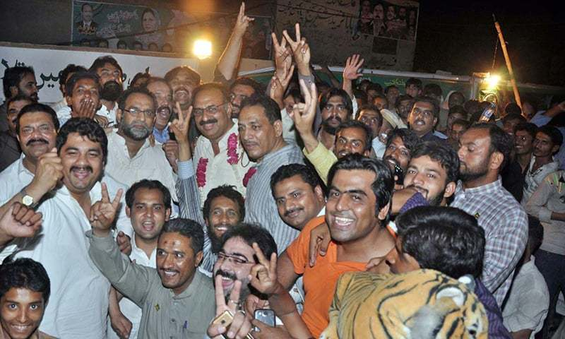 Supporters of PML-N celebrates the victory of PML-N candidate Rana Mahmood ul Hassan in by-election of PP-196. -APP