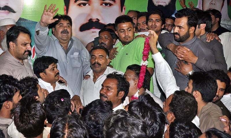 Rana Mahmood ul Hassan of PML-N addressing the supporters after winning by-election in constituency PP-196. - APP