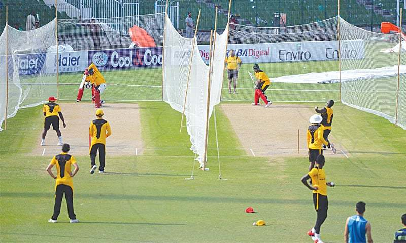 LAHORE: Zimbabwe cricketers take part in a practice session at the Gaddafi Stadium on Saturday.—AFP