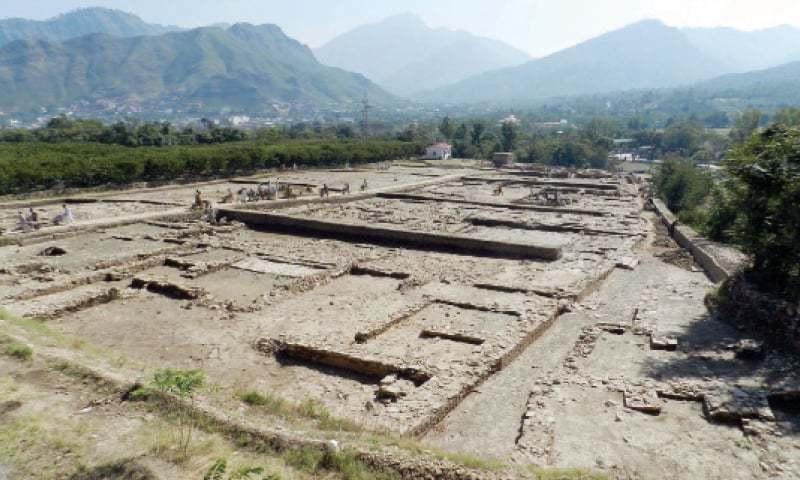 A view of the Bazira Barikot site. —Dawn