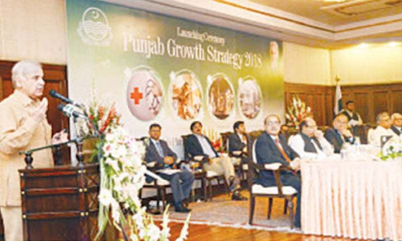 Chief Minister Shahbaz Sharif speaking at the launching of the 'Punjab Growth Strategy 2018' in Lahore on May 16.