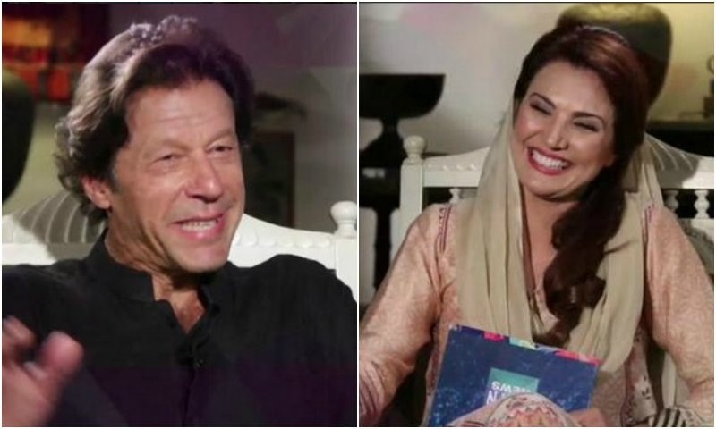 Reham Khan kicked off her new show by inviting her husband to be her first guest. —Screen grab from the show.