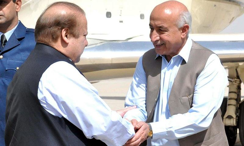 Prime Minister Nawaz Sharif shaking hands with Balochistan Chief Minister Dr Abdul Maalik Baloch on his arrival at Quetta. -Online