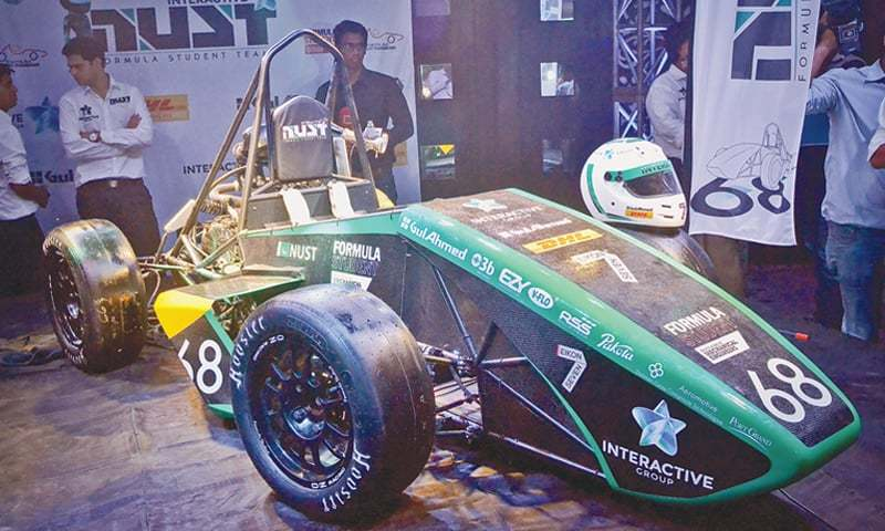 THE race car assembled by NUST students on display at the Pakistan Maritime Museum.—White Star