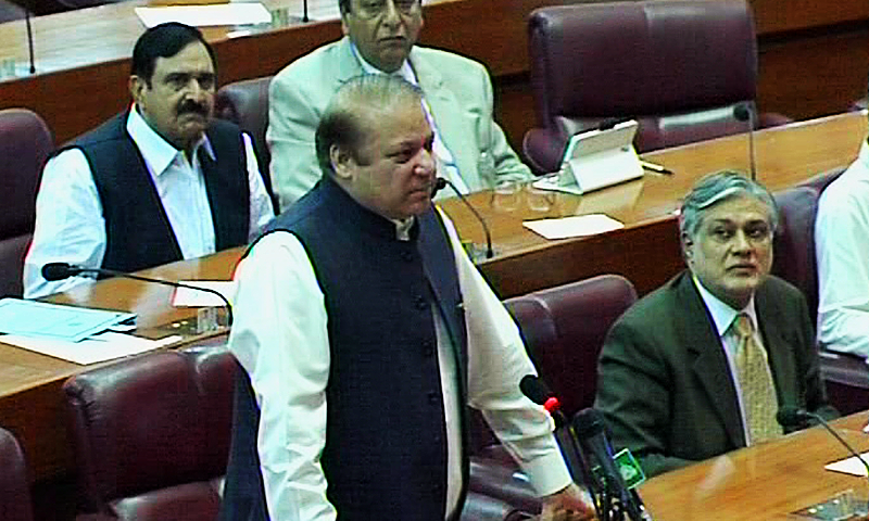 The prime minister said that the Karachi Green Line and K4 water supply projects were the responsibility of the Sindh government. ─ DawnNews screengrab
