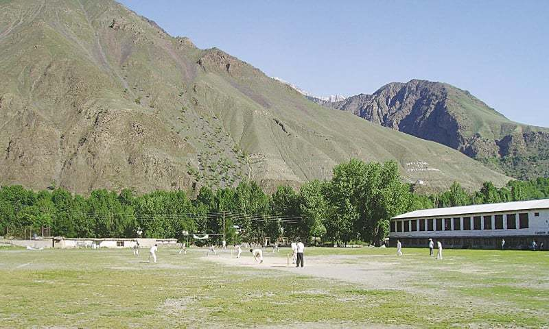 A view of the match between All-Chitral XI and Wounded Tiger XI at the Chitral Scouts Ground