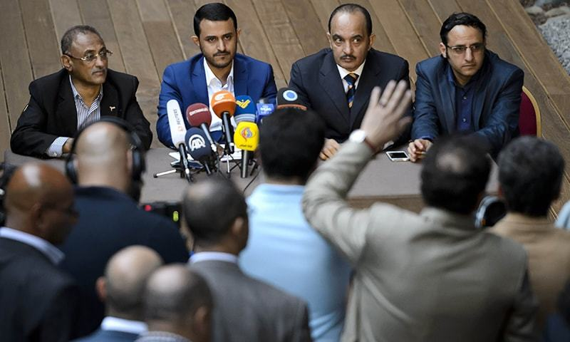 Rebel's delegation Mohammed Zubairi, Head of delegation Hamza al-Houthi, Yahya Doaid and Abd al-Malik al-Hagri attend a press conference at the end Yemen peace talks in Geneva. — AFP