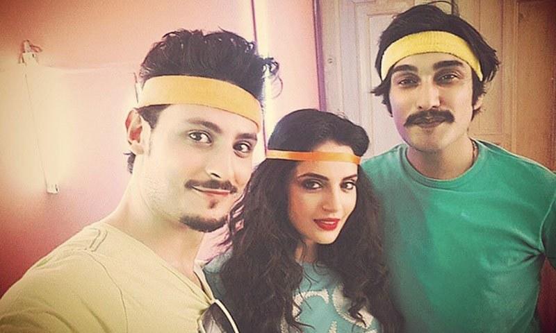 Osman Khalid Butt, Armeena Rana Khan and Uzair Jaswal in a BTS shot from 'Sajna'. — Photo courtesy: Uzair Jaswal's Instagram