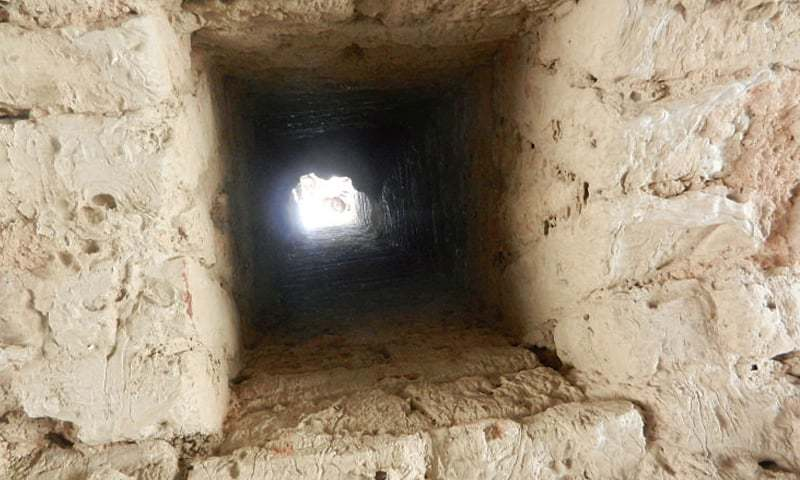 SAHIWAL: A square hole in the centre of the tower's ceiling. — Dawn