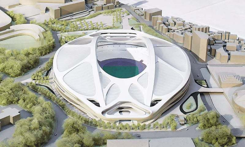 Tokyo: A rendering model of the new National Stadium for the 2020 Tokyo Olympics and Paralympics, designed by architect Zaha Hadid, is displayed at a meeting of members of the advisory council on the construction of the new stadium.—Reuters