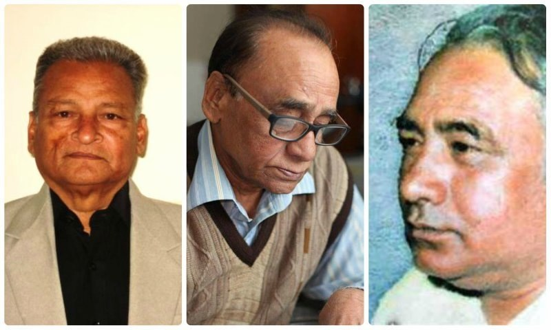 دائیں سے بائیں: سلیم احمد، انور شعور، صابر ظفر۔