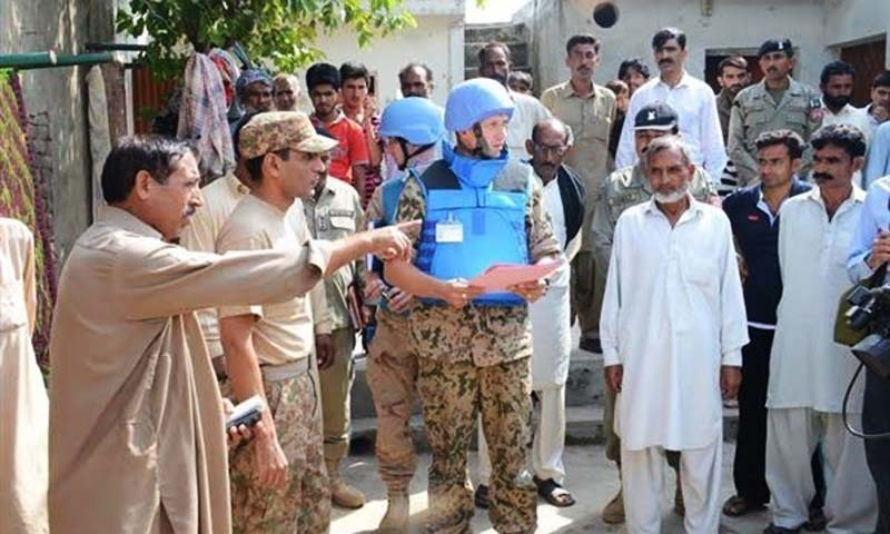 The ISPR statement said that UNMOGIP military officers visited the most affected villages today on working boundary near Sialkot due to Indian unprovoked shelling /firing.  — Photo courtesy ISPR website