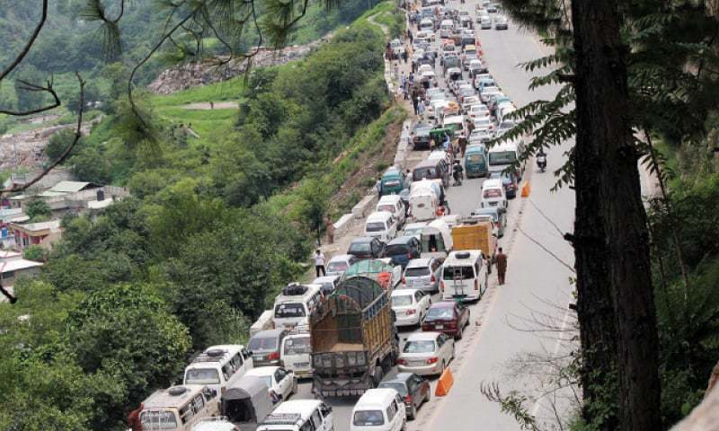 Hundreds of vehicles stuck in a traffic jam on Karakorum Highway in Abbottabad. — Online