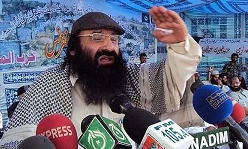 Hizbul Mujahideen's supreme commander Syed Salahuddin addressing a press conference. — Dawn File
