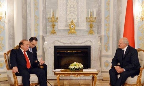 Prime Minister Nawaz Sharif in a meeting with President of Belarus Alexander Lukashenko at the Palace of Independence, Minsk, Belarus, Aug. 10, 2015. – Photo courtesy PID