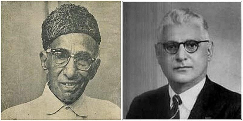 دائیں: قومی ترانے کی دھن کے خالق احمد غلام علی چھاگلہ۔ بائیں: قومی ترانے کے شاعر حفیظ جالندھری