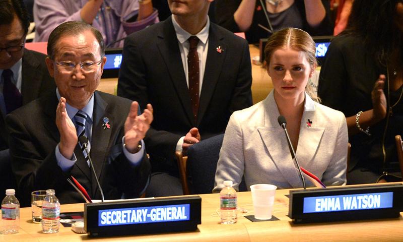 UN Women Goodwill Ambassador Emma Watson with UN Secretary General Ban Ki Moon. —Photo Courtesy: E Online
