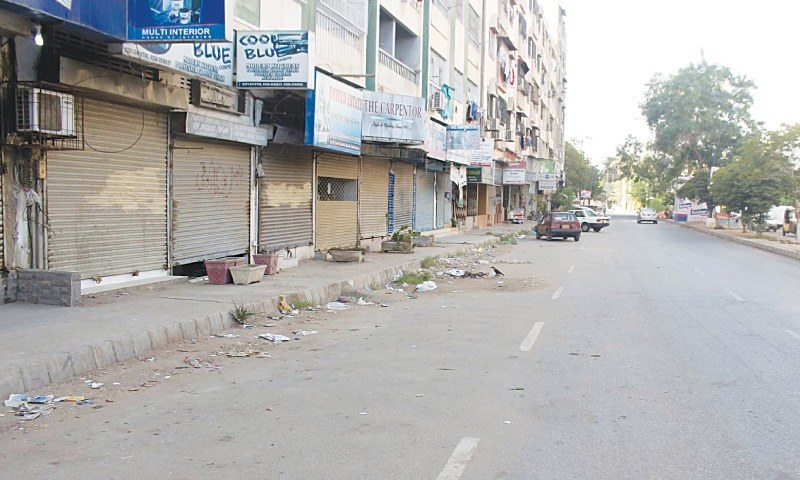 MARKETS in Bahadurabad are closed after the assassination attempt on MQM leader Rasheed Godil on Tuesday. Mr Godil was critically wounded and his driver was killed in the gun attack. — PPI