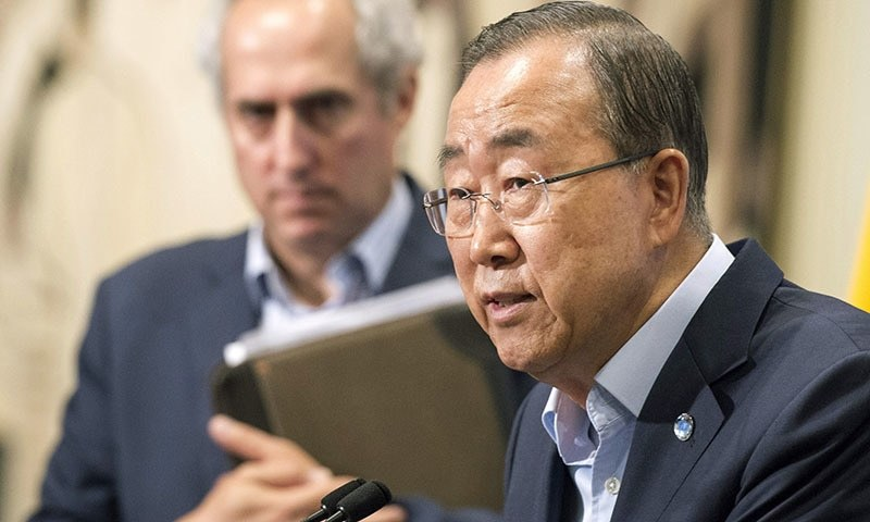 The United Nations, Secretary General Ban Ki-moon expresses serious concern about the recent escalation of violence along the Line of Control between India and Pakistan ─ AP/File